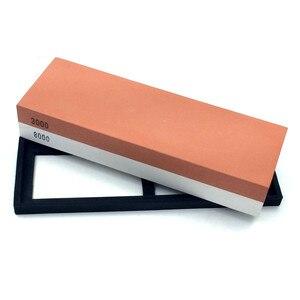 Image 2 - Точильный камень, столовые приборы, 3000/8000 зернистость, двусторонний точильный камень, комбинация, водяная точилка с резиновым держателем камня в комплекте