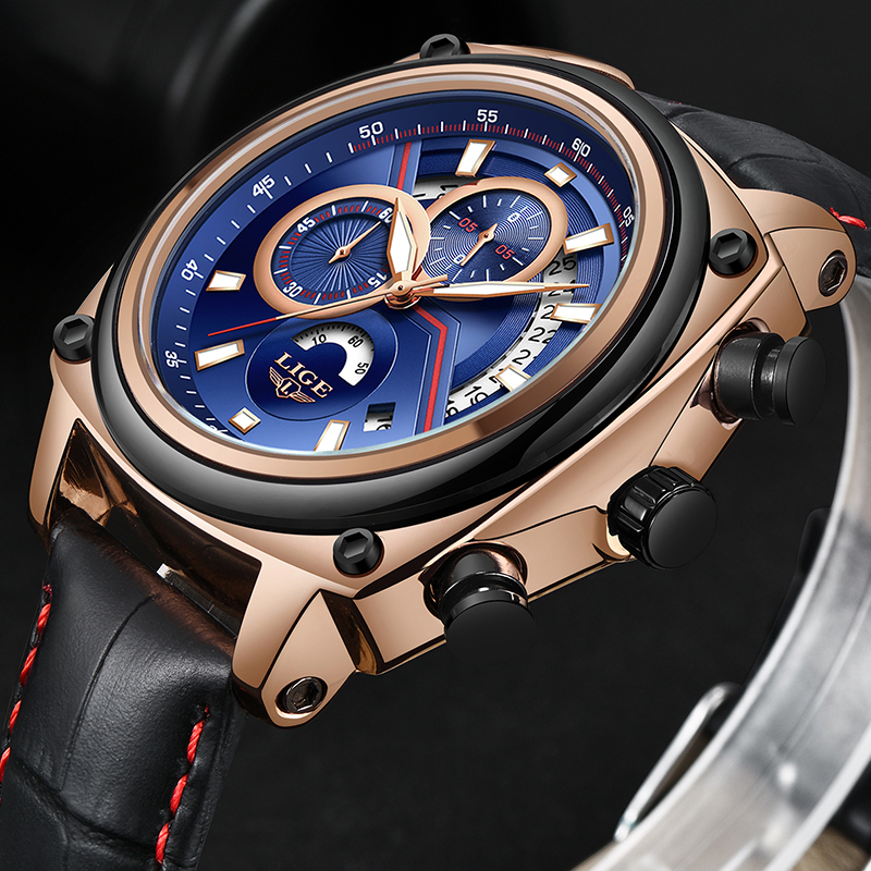 Mens Watches Top Luxury Brand Men Leather Sport Watches LIGE Mens Quartz Clock Waterproof Military Wrist Watch Relogio Masculino relojes lige mens watches brand luxury men military sport luminous wristwatch male leather quartz watch clock relogio masculino