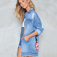 Autumn Blue Denim Floral Embroidery Jacket Coats Hollow Out Holes Jacket Women Long Denim Jacket Lapel Single Breast Coat