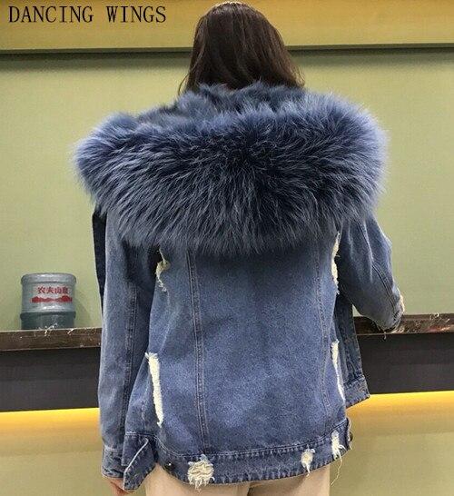 Толстые теплые натуральным лисьим Меховая подкладка джинсовая куртка, пальто парки натуральный мех енота меховой воротник Для женщин нату...