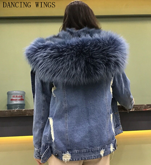 Thick Heat Actual Fox Fur Lining Denim Jacket Coat Parkas Pure Raccoon Fur Collar Ladies Actual Fur Coat
