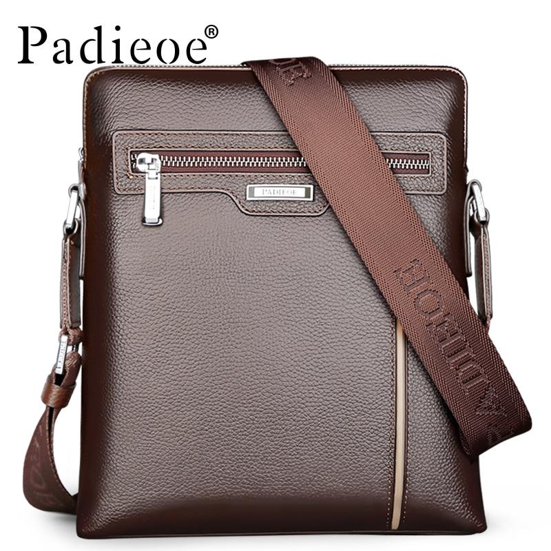 Padieoe Genuine Leather Men Shoulder Bags High Quality Luxury Designer Cowhide Crossbody Bag Business Casual Messenger Bags