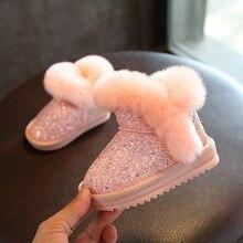 Детские зимние сапоги для девочек, ботинки с кроличьим мехом, Детская Хлопковая обувь, сапоги из натуральной кожи с блестками