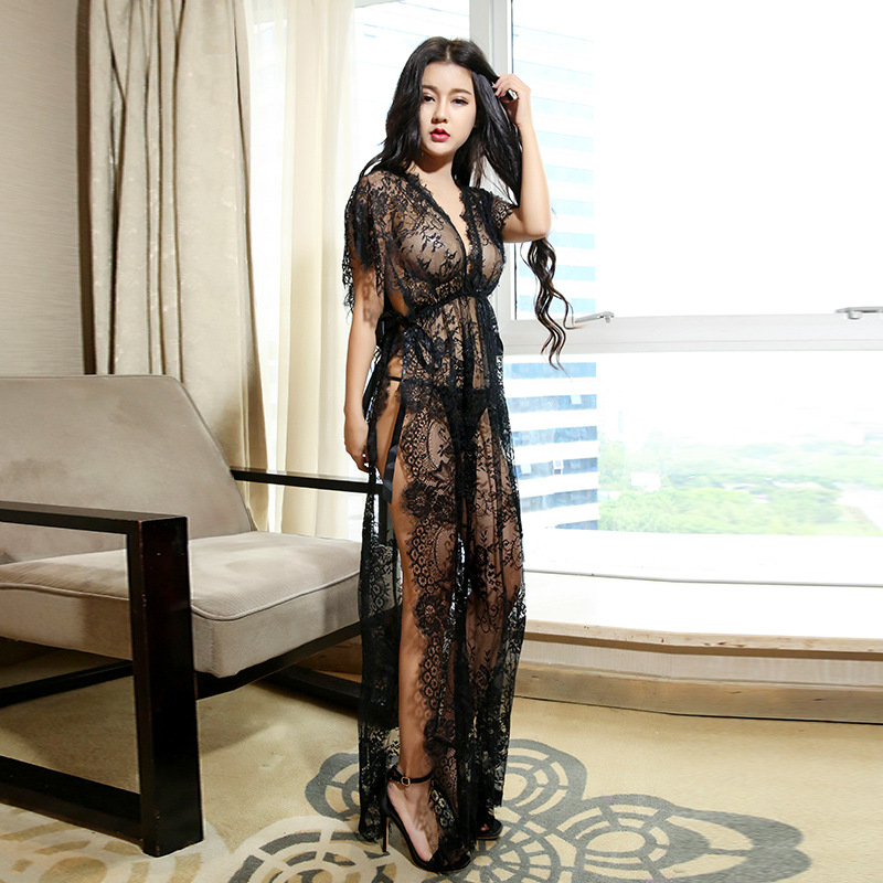 2017 new sexy lingerie temptation summer women suit sexy see through lace Europe and the United States sleep skirt sexy dress