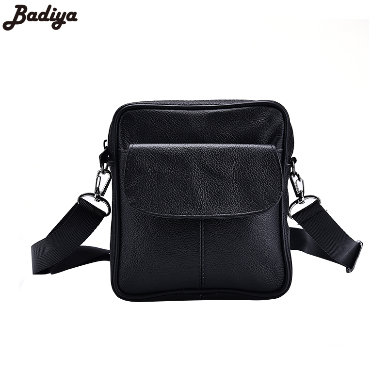 New Cow Leather Mens Black Mini Single Shoulder Bags Portable Mens Business Brief Design Genuine Leather Men Crossbody Bag