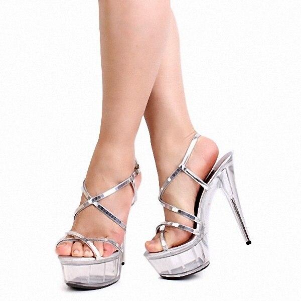 6ac029a5b Verão novo produto Mulheres Bombas Alta Plataforma Cor Prata Sapatos de  Salto Alto Sexy Peep Toe