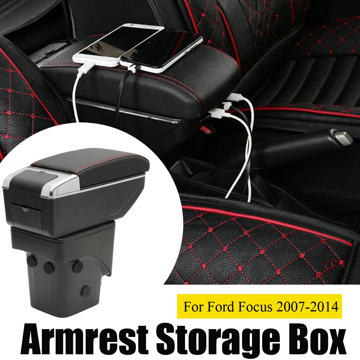 Armrest Storage Box for Fords for Focus 2007 2008 2009 2010 2011 2012 2013 2014 Dual Layer Leather Center Console Container center console armrest storage box elbow supporting for peugeot 2008 3008 1007 2006 2013 2014 2015 2016 2017 black gray beige