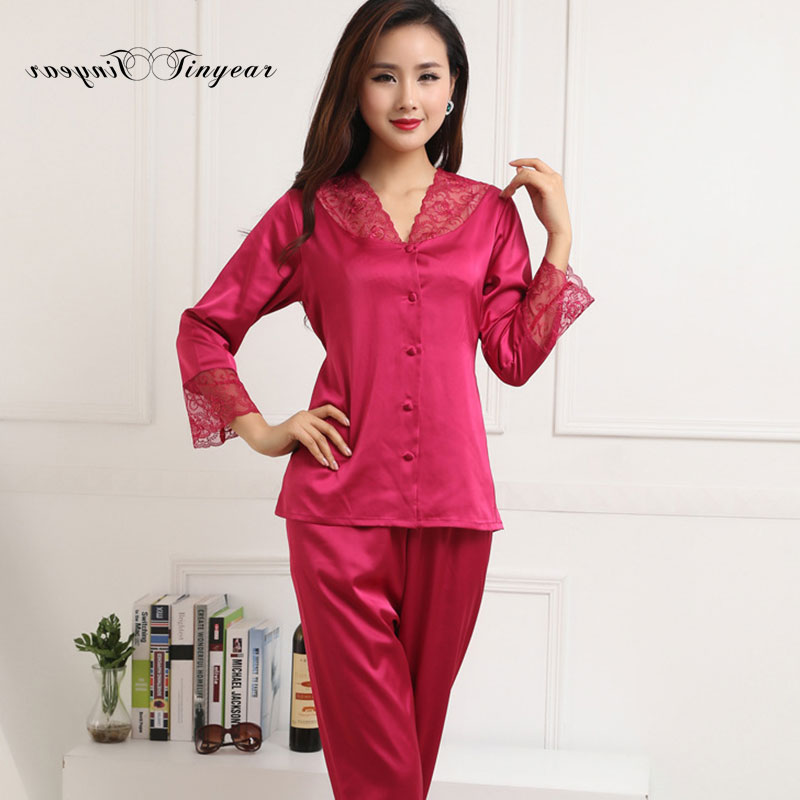 e83a582e2c Free shipping women pyjama set new summer silk satin night suit long sleeve  pants v neck breathable pajamas 3 colors optional-in Pajama Sets from  Underwear ...