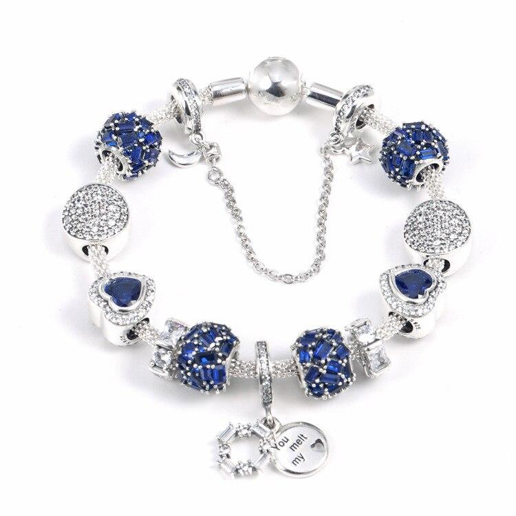 925 argent Sterling brillant brillant Clip éblouissant souhaits cristal pendentif ensemble clair CZ Fit femmes bracelet perle charme bijoux à bricoler soi-même - 3