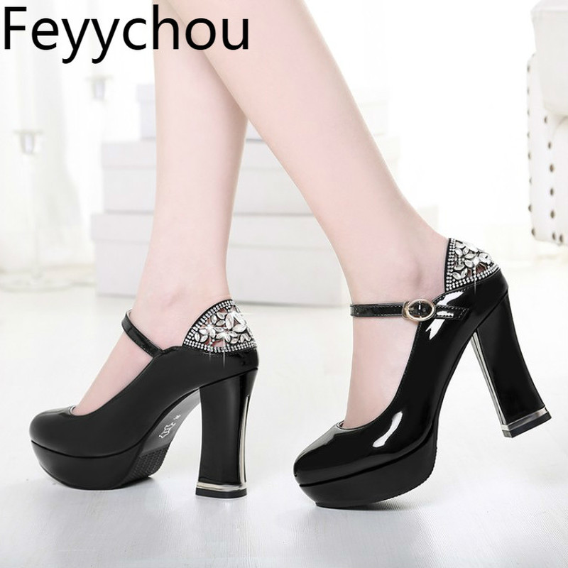 Women Pumps Super High Heel Sexy Fashion Square Heel Platform 2018 Spring Autumn Round Toe Buckle Pu Party Wedding Shoes Black