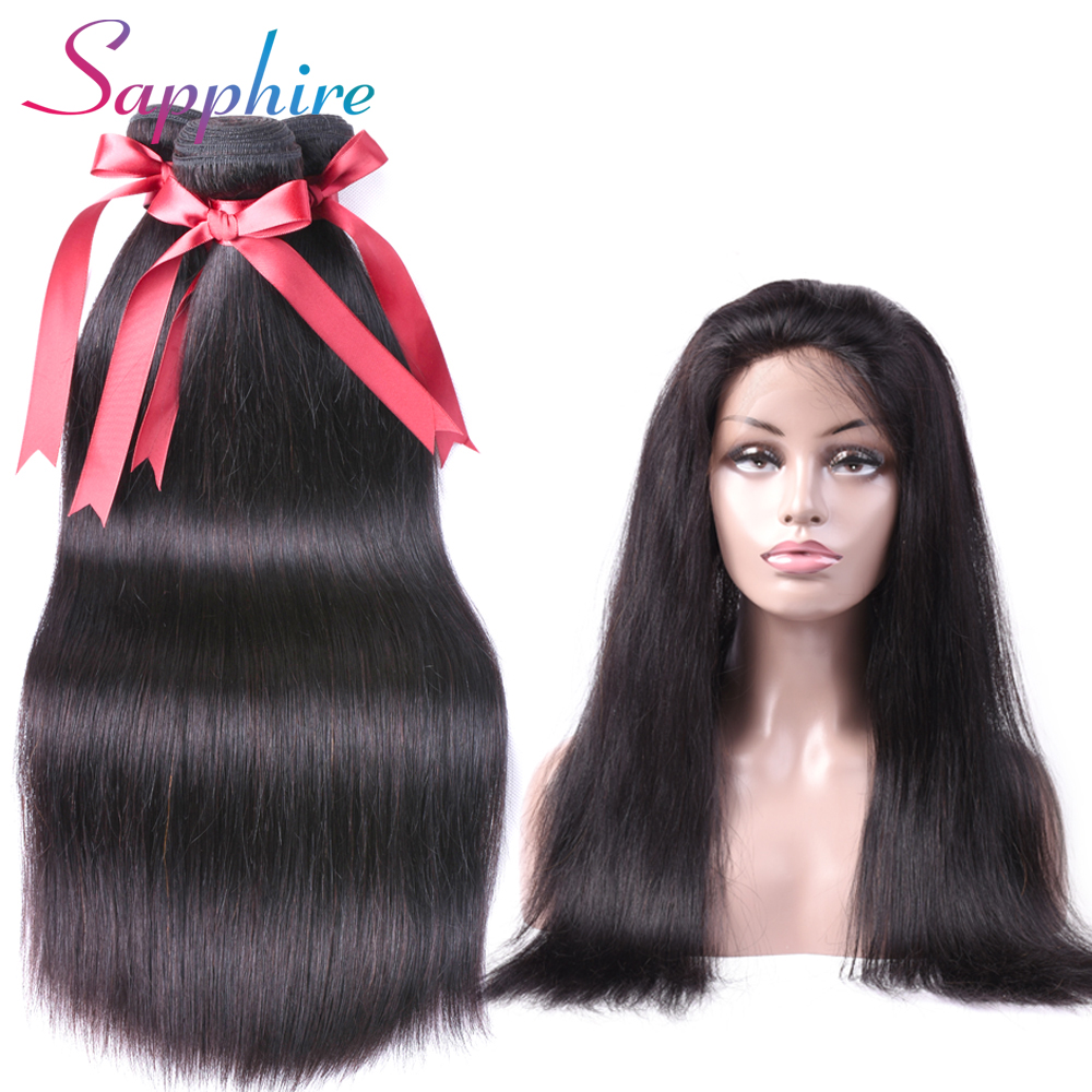 SAPPHIRE Peruvian Straight Hair 3 Bundles With 360 Lace Frontal Human Hair Bundles with Closure Non-Remy Hair Extension