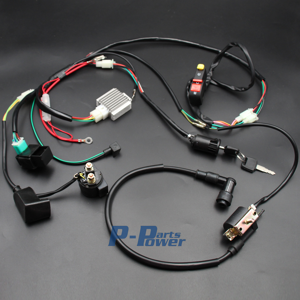 Full Electric Kick Start Engine Wiring Harness Loom Light Wire 50 For Dune Buggy Complete 70 90 110 125cc 4 Stroke Pit Quad