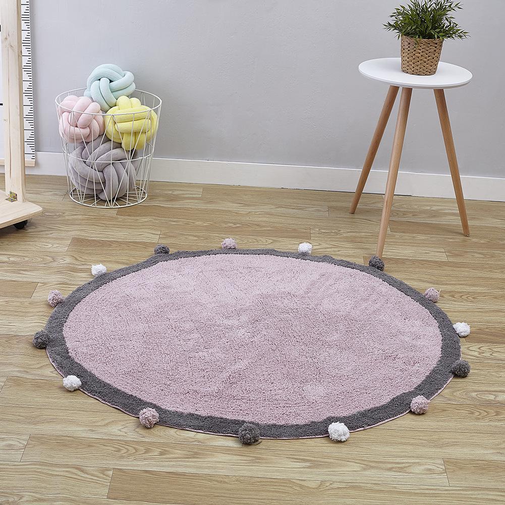 Baby Play Mat Cartoon Children's Crawl Game Mat Round Carpet Soft Comfortable Mat Round Kids Rug Children Room Decoration