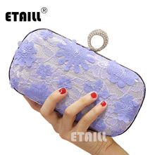 ETAILL Flower Lace Evening Clutch Bag Handmade Style Finger Ring Handbag Purse Wedding Party Shouder with Chain