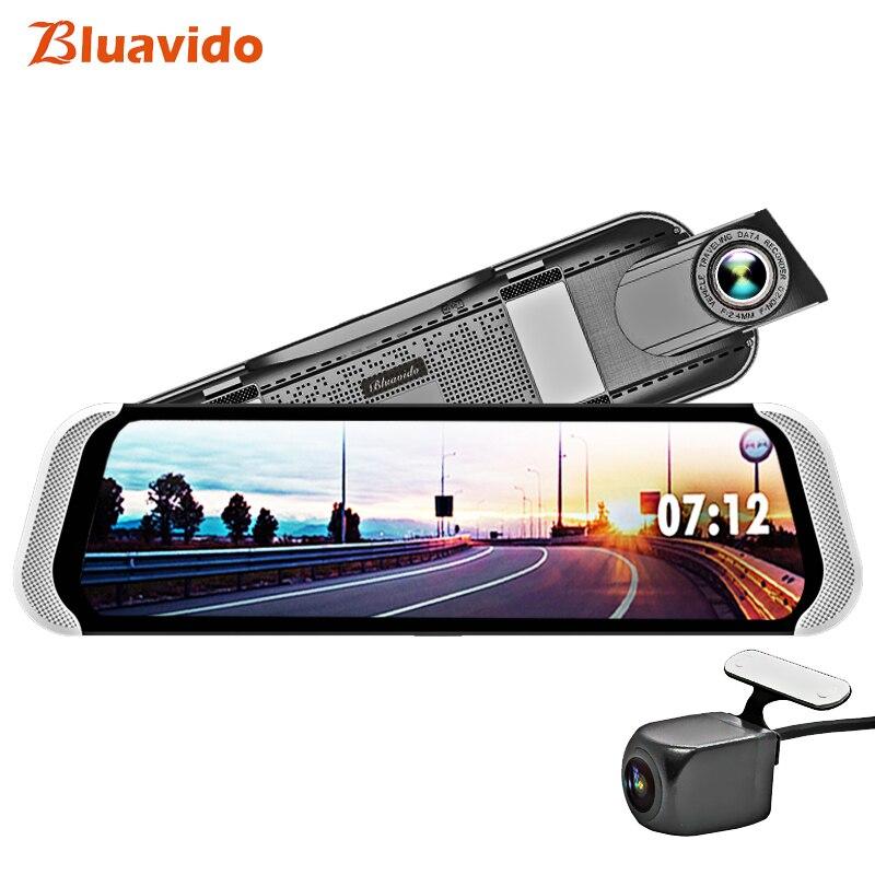 Bluavido 10 Polegada 4G Android Espelho Retrovisor Do DVR 1080P Traço Câmera GPS Navegação ADAS de visão Noturna Lente Dupla gravador de vídeo do carro