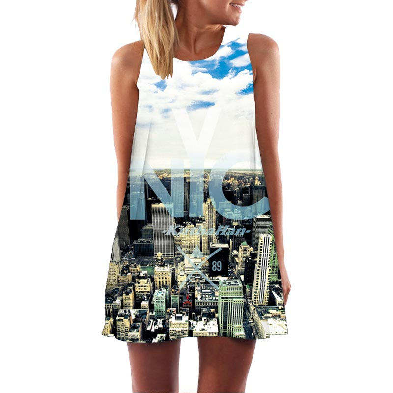 Headbook New Fashion Women Summer Mini Dress 3d Print New York City Sleepwear Loose Off  ...