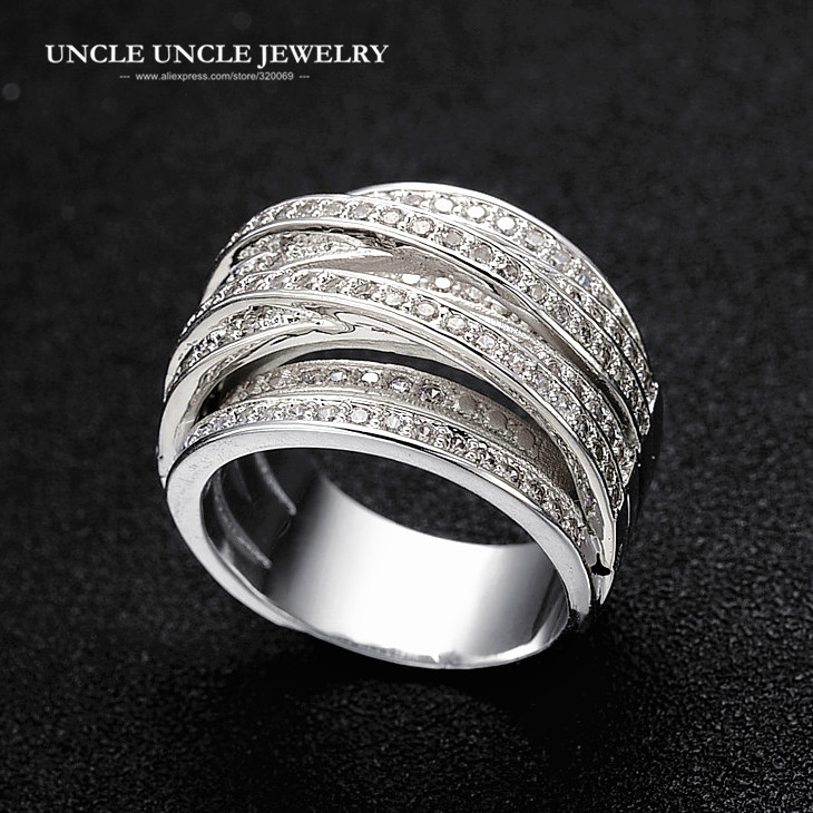 Luxury Multilayer Vintage Silver Color Rhinestones Micro Setting Cross Double X Wide Woman Finger Ring Wholesale