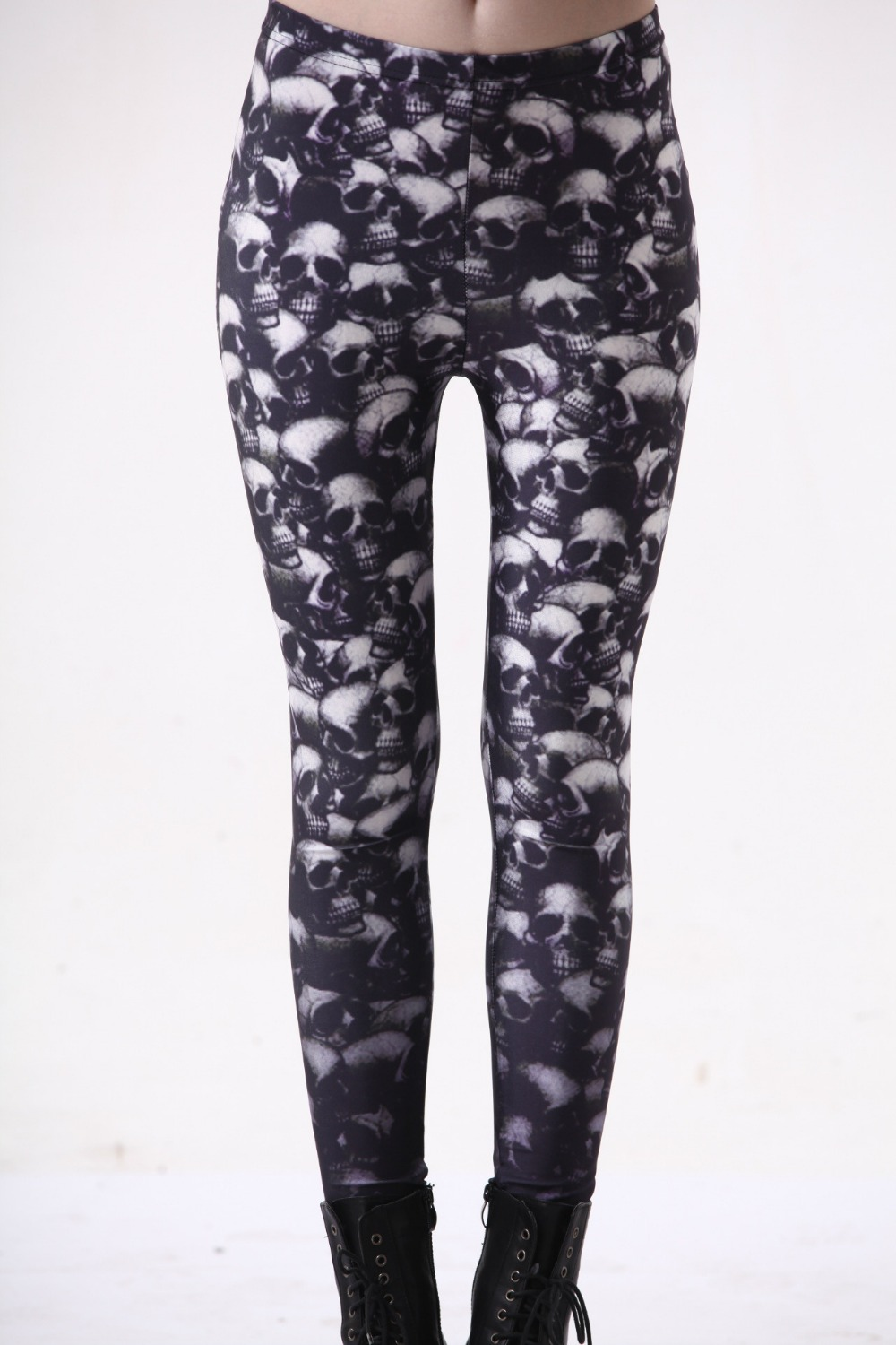 Fashion Women Piles of Skulls Print Leggings Slim Fit Thin Elastic Polyester Cos Party Pants Casual Trousers Drop Shipping
