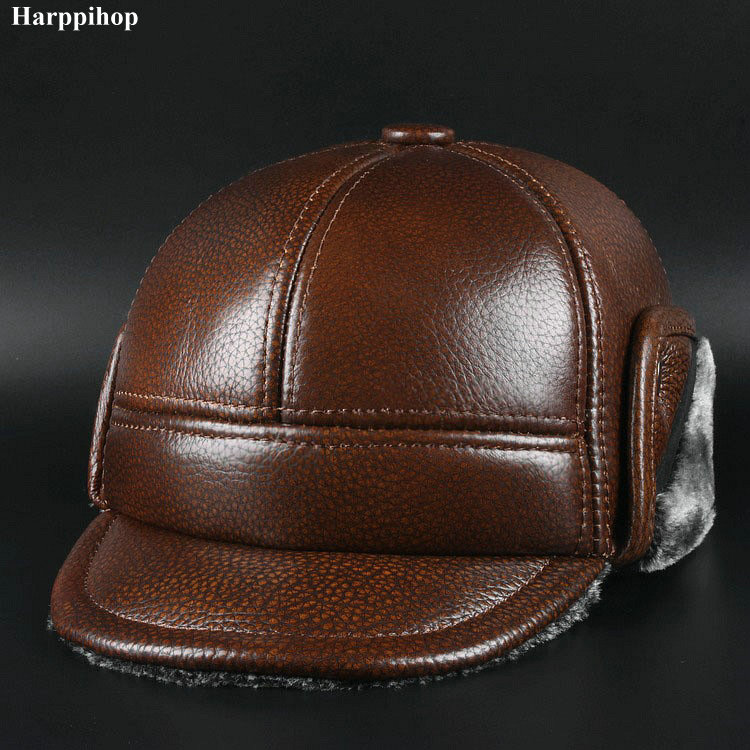 2017 genuine leather men ear protect cap hat high quality mens real leather adult solid adjustable hats caps
