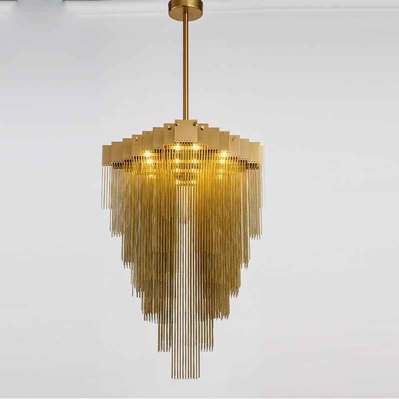 Moderne Foyer Lichter Mode Italienische Design Licht Fr Wohnzimmer Kunst Pendelleuchte Gold Luxus Kette Quaste Kronleuchter
