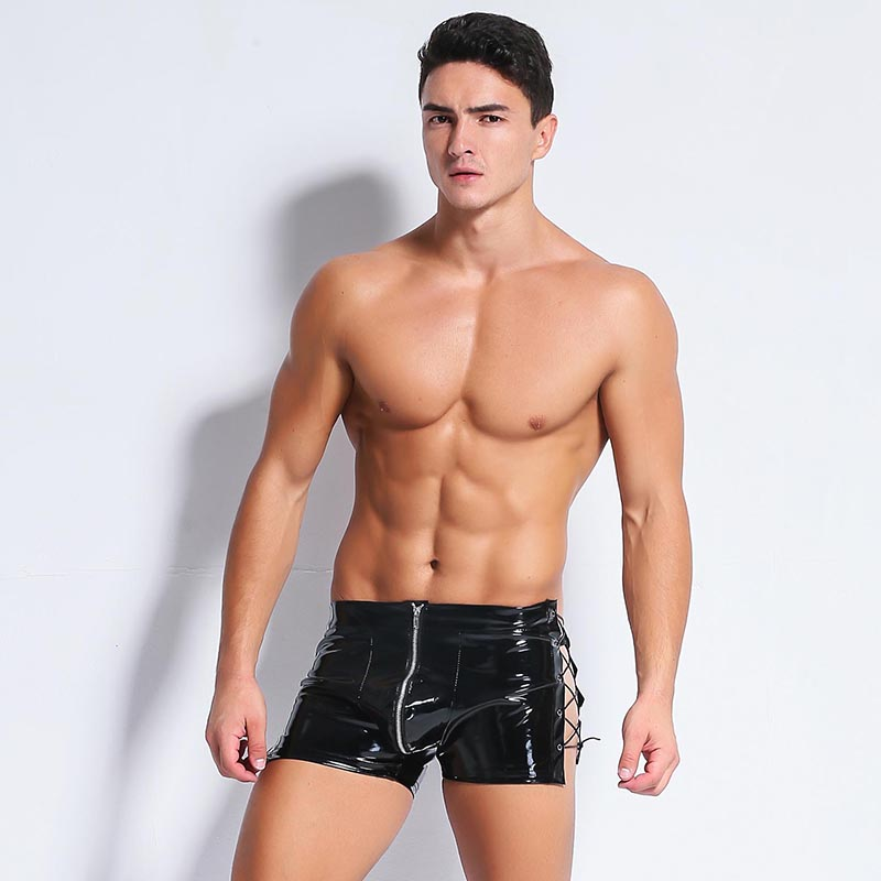 Buy Strong Men Black Faux PU Leather Latex Shorts Boxers Trunks Erotic PVC Underwear Male Panties Bondage Fetish Lace-Up Gay Lingeri