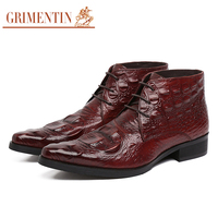 GRIMENTIN fashion classic luxury mens dress ankle boots crocodile style genuine leather lace up for men wedding size:6 10.5 NB3