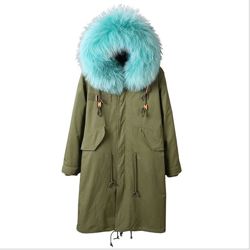 New Anorak Winterjacke 2017 Army Green Womens Parka Coats Real Large Raccoon Fur Collar Detachable Fox Fur Lining Hooded Outwear kohuijoos 3xl winter women army green large raccoon fur collar hooded coat warm detachable natural fox fur lining parka coats