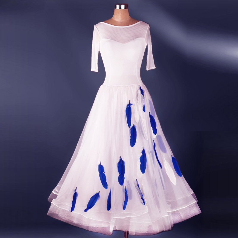 ladies standard ballroom dress women waltz flamenco tango white competition withe dresses dancing feather skirts womens 2017