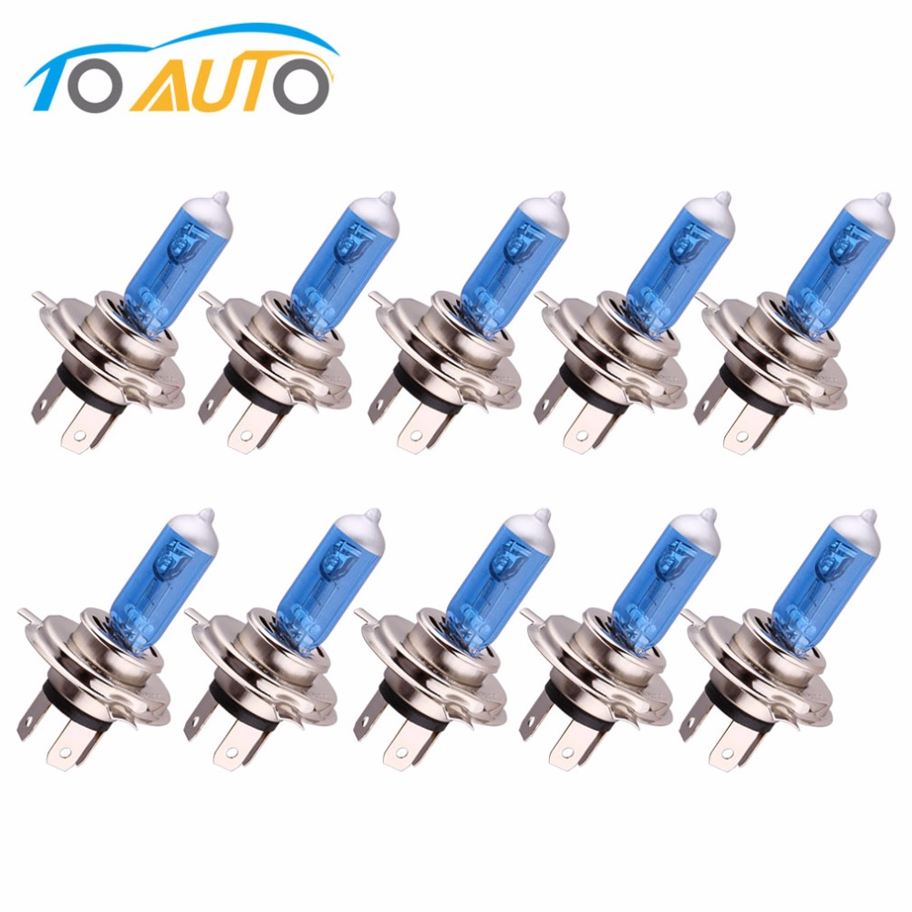 10pcs H4 Halogen Bulb 55W 12V Super Bright Car Headlight Lamp Fog Lights High Power Auto Light Bulbs 5000K White