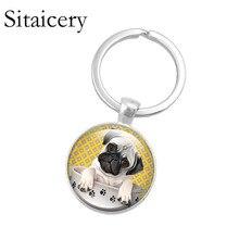 Saitaisery Cute Pug Dog Footprint Keyring Drive Safe Key Chain Animal Jewelry Pendant Accessories Keychains For Men As Gift недорого