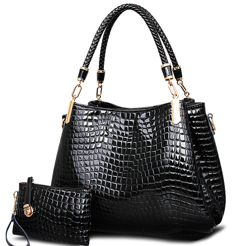 ФОТО 2016 Women Leather Handbags Alligator Pattern Ladies Messenger Bags 2 Sets Female Shoulder Bags  RT04
