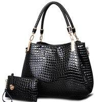 2018 Women Leather Handbags Alligator Pattern Ladies Messenger Bags 2 Sets Female Shoulder Bags For Female bolsa feminina RT04
