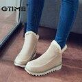Gtime 2016 plus size 34-43 moda mulheres botas dedo do pé redondo botas de neve tornozelo moda slip-on mulheres sapatos preto bege # zws23