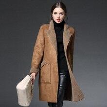 Мода Зимняя Куртка Женщины Пальто Хлопка Женщина Искусственного Замша Длинные Искусственную Ягнят Шерсть женская Одежда Теплая Куртка И Пиджаки Пальто