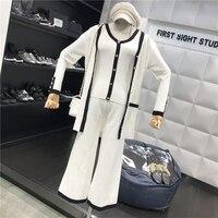 2019 spring summr new sweet halter vest top + Cardigan + Wide Leg Pants knit Three piece Suit suit set SE204