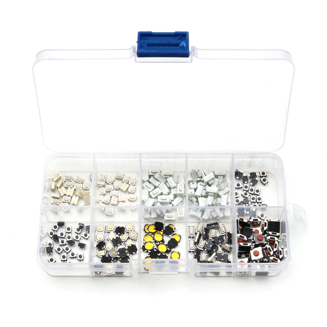 10 Types Mini Tactile Push Button Touch Switch Remote Keys Microswitch 250PCS DIY Repair Part Kit Assortment