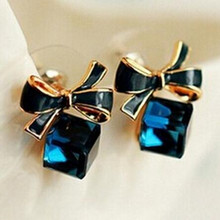 Blue Kiss E480 The Fashion 2016 Chic Shimmer Plated Gold Bow Cubic Crystal font b Earrings