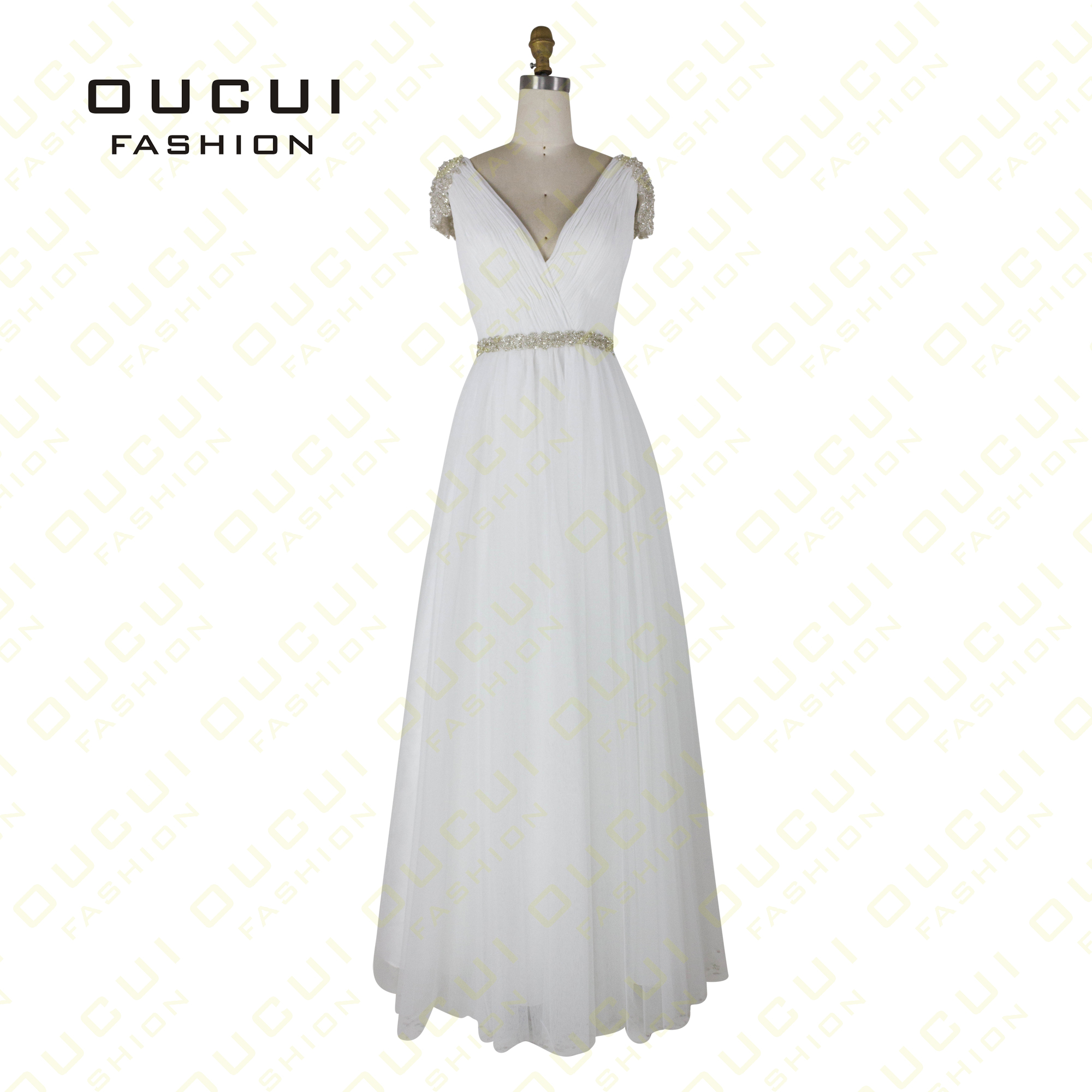 Oucui A-Line Chiffon   Dress   With Stones   Prom     Dresses   2019 Handwork Beading Backless Plus Size Party Gowns Robe De Soiree OL102785