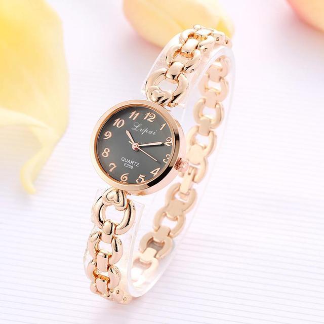 LVPAI 2018 Watch Women Gold Vintage Luxury Clock Women Bracelet Watch Ladies Brand Luxury Stainless Steel Women Clock Gifts B50 3