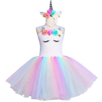Pastel Unicornio Tutu Vestido Nina Flor De Los Ninos Fiesta De