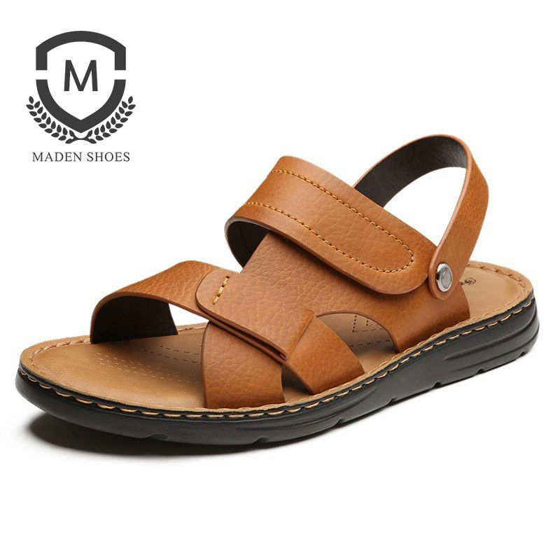Maden Waxy Split Leather Men Sandals Slippers 2 Usees Summer Beach Shoes Basic All-Match Hook & Loop Casual Black Brown Matte