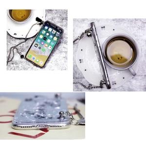 Image 5 - ユニークなカスタマイズ名ロング金属チェーンレーザーフレークソフト電話ケースカバーiphone 11プロ6 6s 7 8プラスx xs最大xr 8プラス