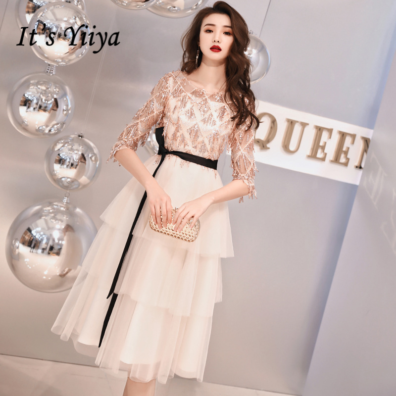 It's Yiiya   Prom   Gowns Champagne O-neck Sequins Tassel Half Sleeves Ruffles Knee-length Plus size Party Short   Prom     Dresses   E434