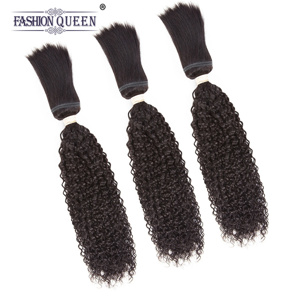 Fashion Queen Hair Braid in Bundles 7A Brazilian Kinky Curly Human Hair 3 Bundles 120g/Pc Braid in Human Hair Extensions ...