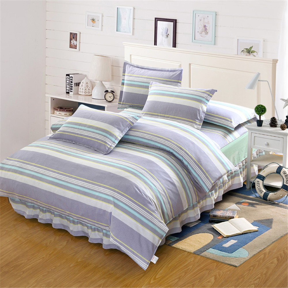 White blue gray stripes plaid Bed skirt 4pcs Bedding Set Bedclothes bedspread Home Textile Twin Full Queen King size 100% CottonWhite blue gray stripes plaid Bed skirt 4pcs Bedding Set Bedclothes bedspread Home Textile Twin Full Queen King size 100% Cotton