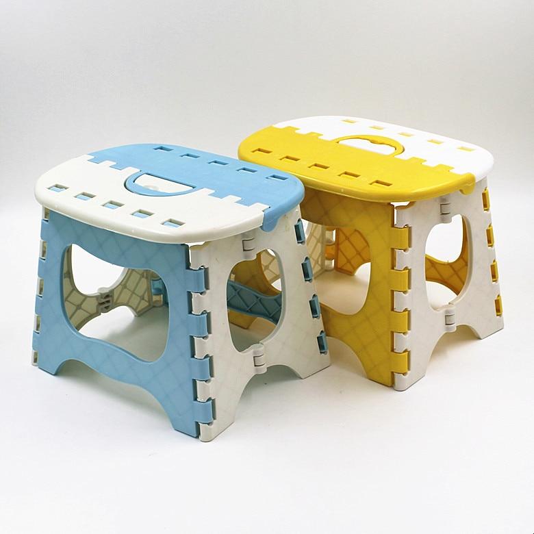 Zils dzeltens plastmasas saliekamais krēsls 6 tipa sabiezināts solis Osmaņu portatīvās mājas mēbeles kazlēnu ērtai bērnu vakariņu taburetei
