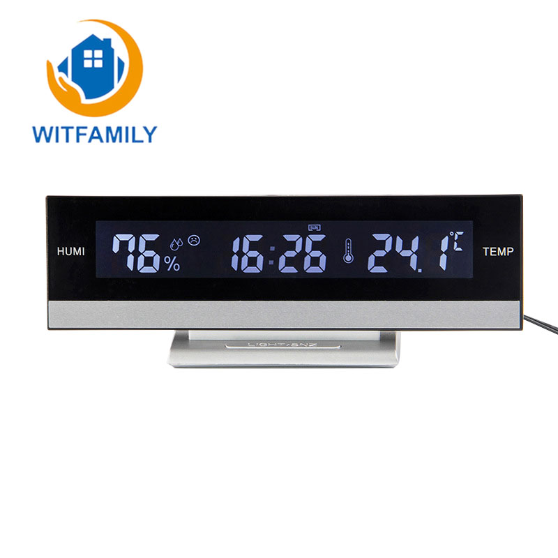 Home Digital LCD Big Large Screen LED Display Electronic  Alarm Clock Desk Temperature Humidity Clock Electronic Battery