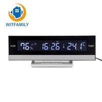 Home Digita LCD Big Large Screen LED Display Electronic Alarm Clock Desk European Temperature Humidity Clock