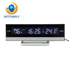 Home Digita LCD Big Large Screen LED Display Electronic  Alarm Clock Desk European Temperature Humidity Clock Electronic Battery