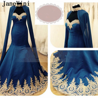 JaneVini Vintage Saudi Arabia Long Prom Dresses with Cape Sweetheart Gold Applique Lace up Back Mermaid Satin Evening Party Wear